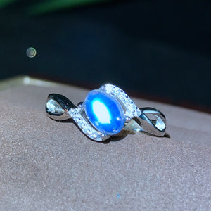 Genuine Natural Moonstone Ring Solid 925 Sterling Silver For Woman Gemstone Rings Girl Fine Jewelry