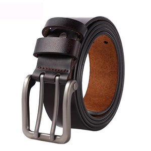 130 140 150 160 170 cm Large Size Men's Real Genuine Leather Belt for Jeans Male Metal Double Pin Metal Buckle Straps Belt Brown