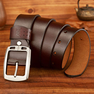 MEDYLA Dropship High Quality Genuine Leather Luxury Strap Male Belts For Men Jeans Casual Belt Pin Buckle Masculine Cummerbund - Find A Gift Fast