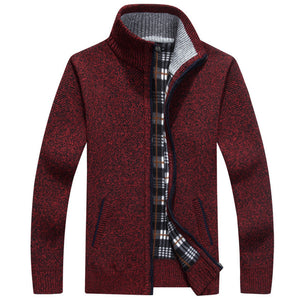 New 4XL 5XL Mens Fleece Sweate Autumn Winter Warm Cashmere Dress Slim Fat Wool Zipper Casual Sweater Men Knitted Coat AF1383 - Find A Gift Fast