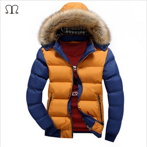 Winter Down Coat Men Casual Fur Hooded Cotton Padding Parka Mens Brand Windproof Waterproof Patchwork Windbreaker Jackets Male - Find A Gift Fast