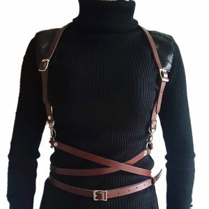 New sexy women men Leather belts slim Body Bondage Cage Sculpting fashion Punk Harness Waist Straps Suspenders Belt accessories - Find A Gift Fast