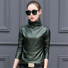 Load image into Gallery viewer, European punk plus size women blouse autumn turtleneck long sleeve tops shirt ladies velvet stretch camisas PU leather blouses