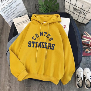 Zuolunouba High Street Knit Hooded Letter Lady Fleece Pullovers Ins Style Add Velvet Thick Sweater Women Autumn Winter Clothes - Find A Gift Fast