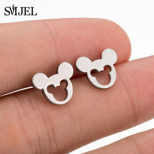 SMJEL Stainless Steel Mickey Stud Earrings for Women Girls Minimalist Fox Cat Hedgehog Earings Jewelry Animal Accessories Gifts - Find A Gift Fast