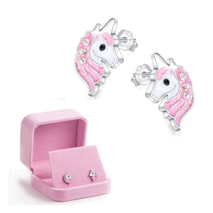 Pink Unicorn Earrings Glitter Enamel - Find A Gift Fast