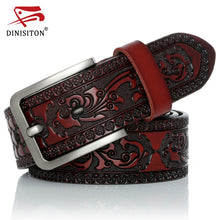 Load image into Gallery viewer, DINISITON Genuine Leather Belts for men Designer Belt Male Print Vintage Pin Buckle Luxury Strap New Fashion High Quality YH918