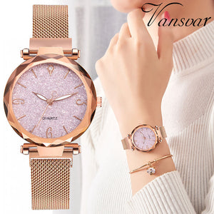 Rose Gold Women Watch 2019 Top Brand Luxury Magnetic Starry Sky Lady Wrist Watch Mesh Female Clock For Dropship relogio feminino - Find A Gift Fast
