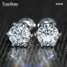 Load image into Gallery viewer, Transgems 14K 585 White Gold 0.5ctw 4mm Lab Created Moissanite Diamond Stud Earrings Push Back For Women Birthday Gift