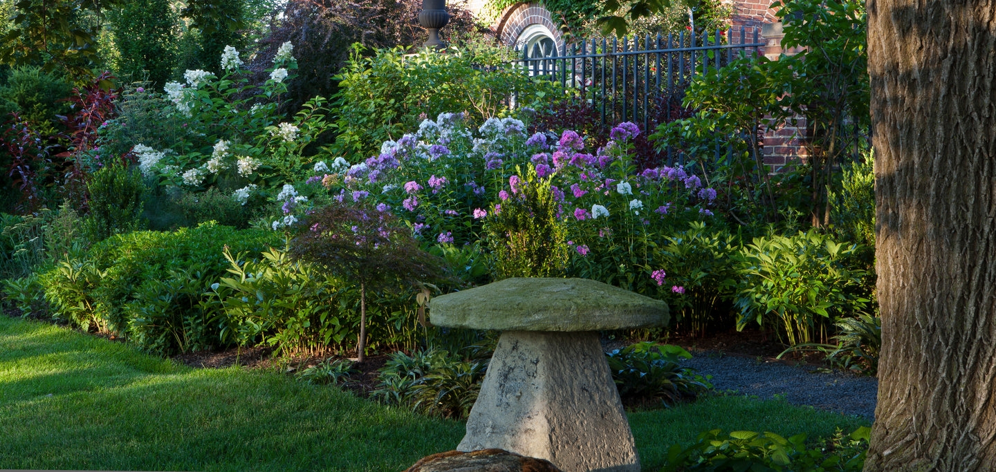 Spring Lake Forest Garden with an English Staddle Stone