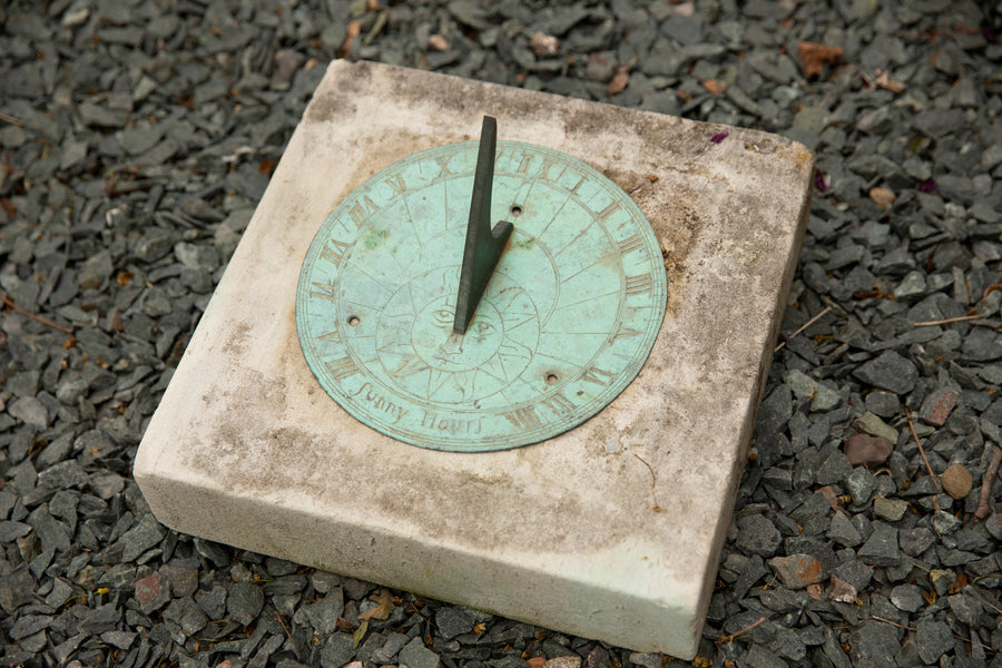 Antique Bronze Sundial on Limestone Base