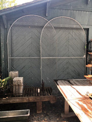 Vintage Woven Wire & Steel Arched Gates, circa, 1950's - pair