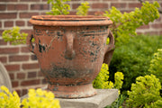 Antique French Anduze Terracotta Pot with remnants of old black paint