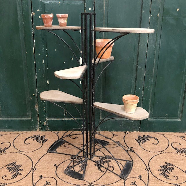 Vintage Mid-20th Century Sculptural Iron and Teak Multi-tiered Stand
