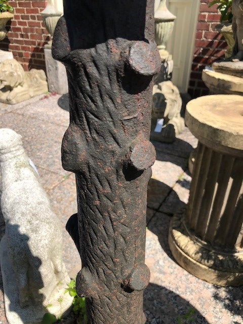 Antique Cast Iron Faux Bois Hitching Post, late 1800's
