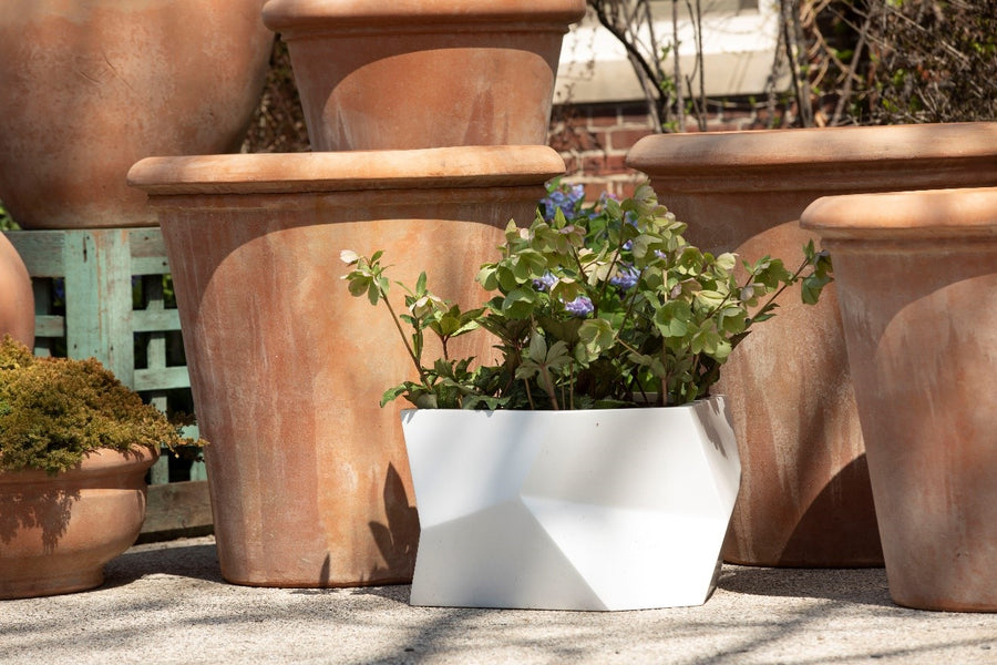White Fiberglass Angular Planter