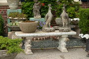 Antique American Cast Stone 3 piece Bench with Lion Feet