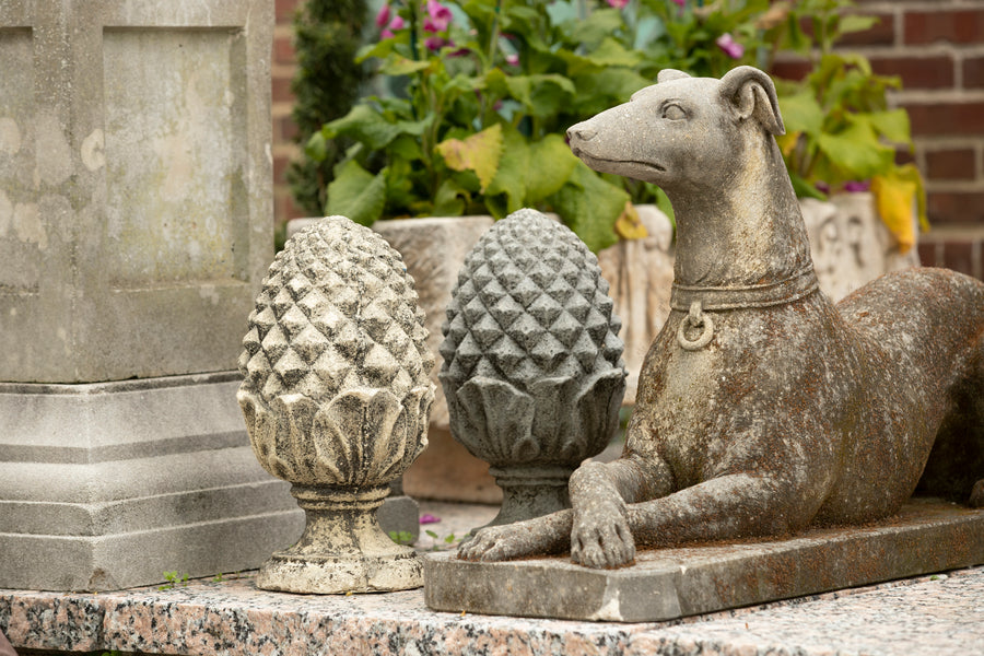 Cast Stone Pineapple Gate Post Finials - pair