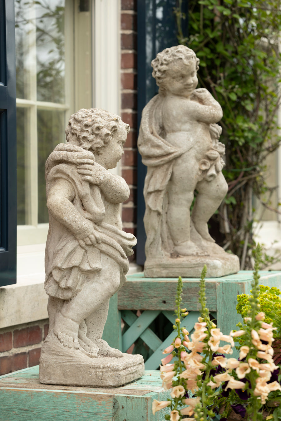 Vintage Pair of Concrete Season Putti, 1940's