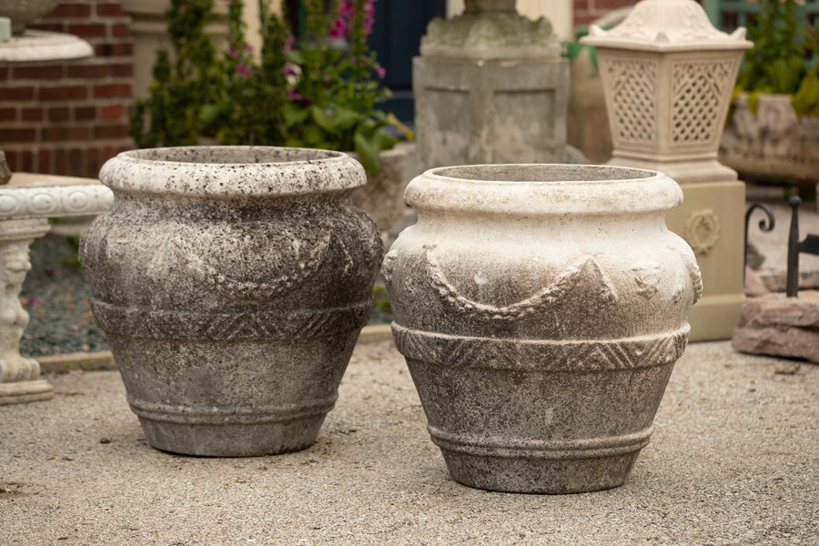 French Cast Stone Garland Jars - Pair