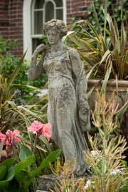 English Reconstituted Stone Statue of Classically Draped Young Woman