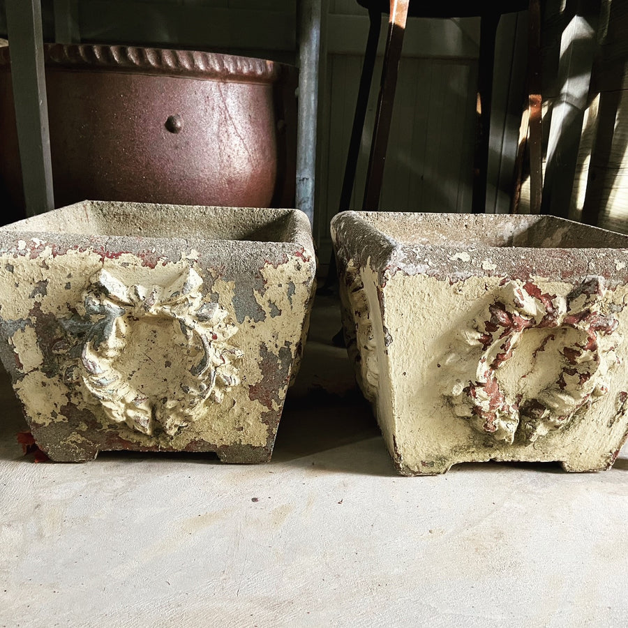 Antique 19th Century -Concrete Wreath Planters - Pair