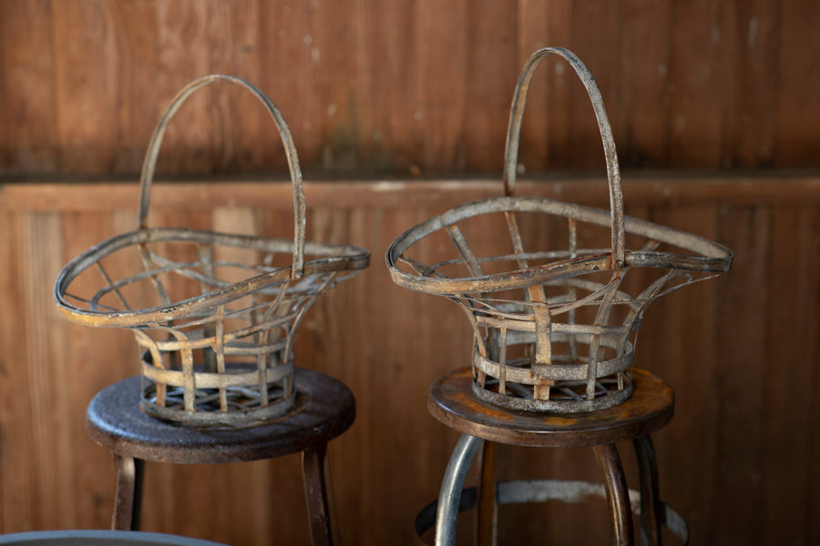 Strap Metal Basket Planters - Pair