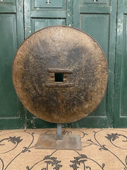 Antique Chinese Wood and Iron Wheel on Steel Stand