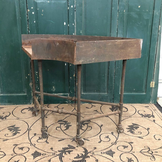 Antique 1/2 Round Industrial Steel Table on Wheels