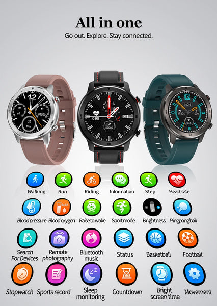 The All In One Formal/Sport Watch™ Supports: Walking, Running, Riding, Information, Step, Heart Rate, Blood Pressure, Blood Oxygen, Raise To Wake, Sport Mode, Brightness, Ping Pong, Search For Devices, Remote Photography, Bluetooth Music, Status, BasketBall, FootBall, StopWatch, Sports Record, Sleep Monitoring, Countdown Timer, Bright Screen Time, Movement Settings. |  BuySpotUSA.com Exercise & Fitness Products