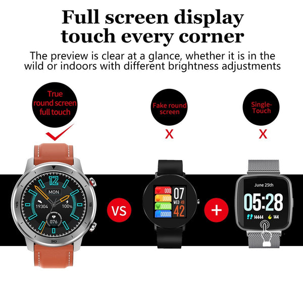 Comparing The True Full Round Screen And Full Touch Feature Of The Formal/Sport Watch™ Blood Pressure, Oximeter & Heart Rate Monitor Compared To Other Wrist Watches That Do Not Use The Full Screen And Some That Only Have A Single Adjustment Touch. The Formal/SPort Watch Has Clear At A Glance Preview Indoors Or Out With Brightness Adjustments. |  BuySpotUSA.com Exercise & Fitness Products