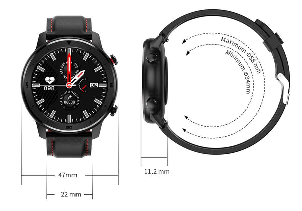 The Height Length And Width Of The Formal/Sport Watch™ Blood Pressure, Oximeter & Heart Rate Monitor. Watch Face 47mm. Wrist Band Width 22mm. Watch Face Thickness: 11.2mm. Maximum Circumference 58mm. Minimum Circumference 34mm.  |  BuySpotUSA.com Exercise & Fitness Products