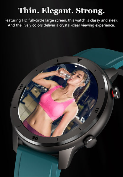 The Thin, Elegant And Strong Formal/Sport Watch™ Blood Pressure, Oximeter & Heart Rate Monitor Are Very  Impressive. Demonstrating The Full Circle HD Large Screen Display, Of A Young Lady At The Gym Wearing A Bright Pink Workout Top. The Image Is Clear Enough To Show Her Perspiration And Water Dripping From Her Drinking Bottle. |  BuySpotUSA.com Exercise & Fitness Products