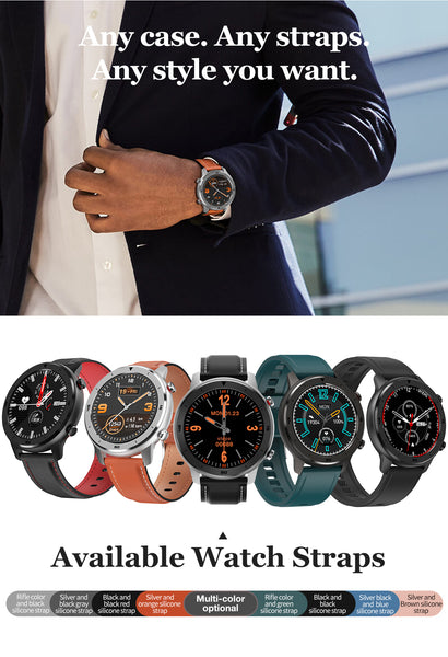 A BusinessMan On His Way To Work Wearing The Formal Sport Watch With Blood Pressure, Oximeter And Heart Rate Monitor. He Is Demonstrating The Many Options The Watch Supports With The 9 Different Writs Watch Bands Available. |  BuySpotUSA.com Exercise & Fitness Products