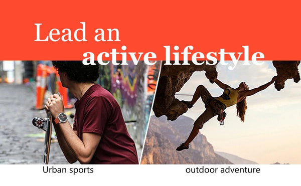 A Man Skateboarding And Woman Rock Climbing Demonstrating Active Use Of The Formal Sport Watch With Blood Pressure, Oximeter And Heart Rate Monitor.  |  BuySpotUSA.com Exercise & Fitness Products
