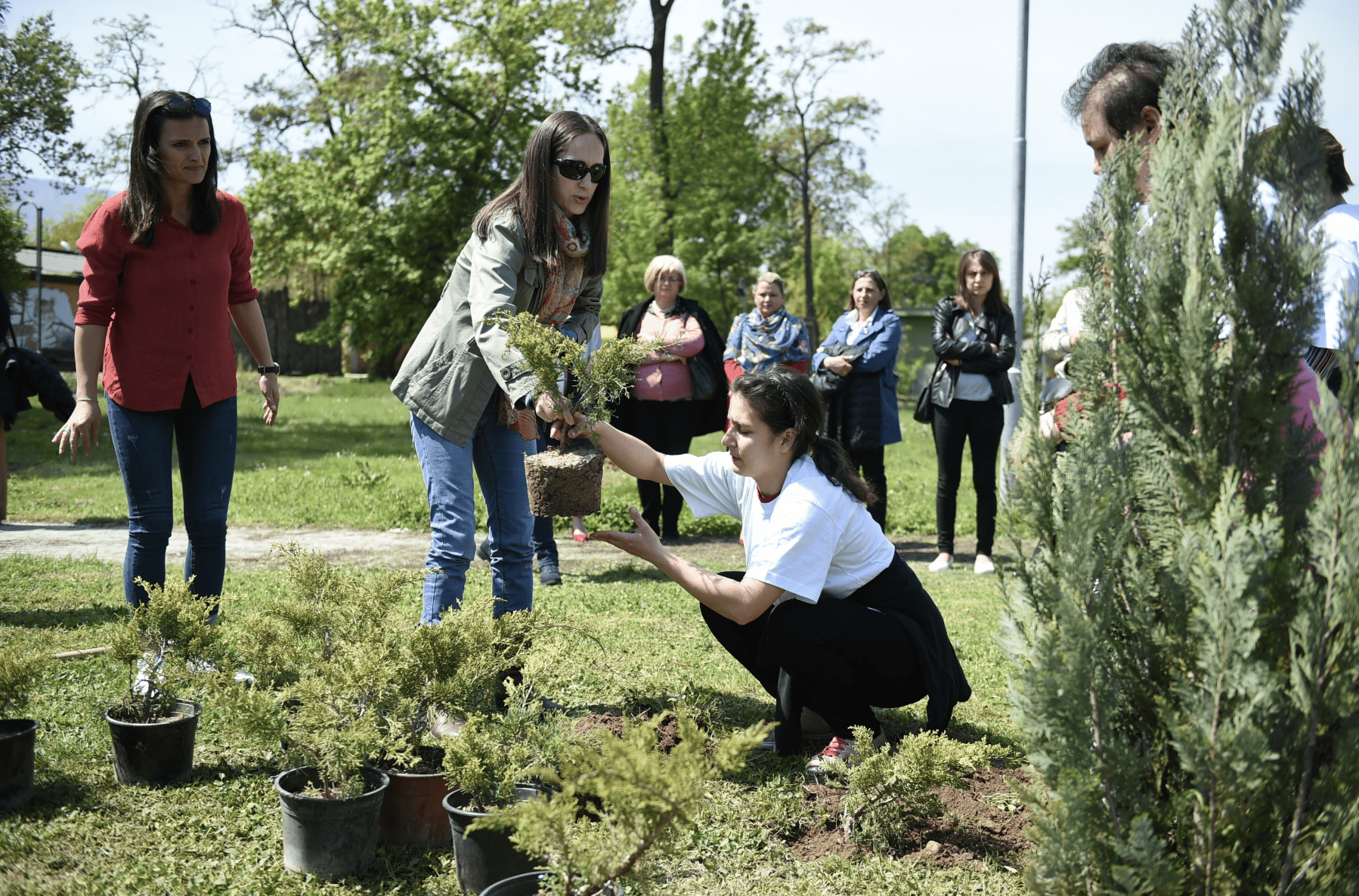 Woman handing a tree to another woman as a group of volunteers look on at a reforestation project