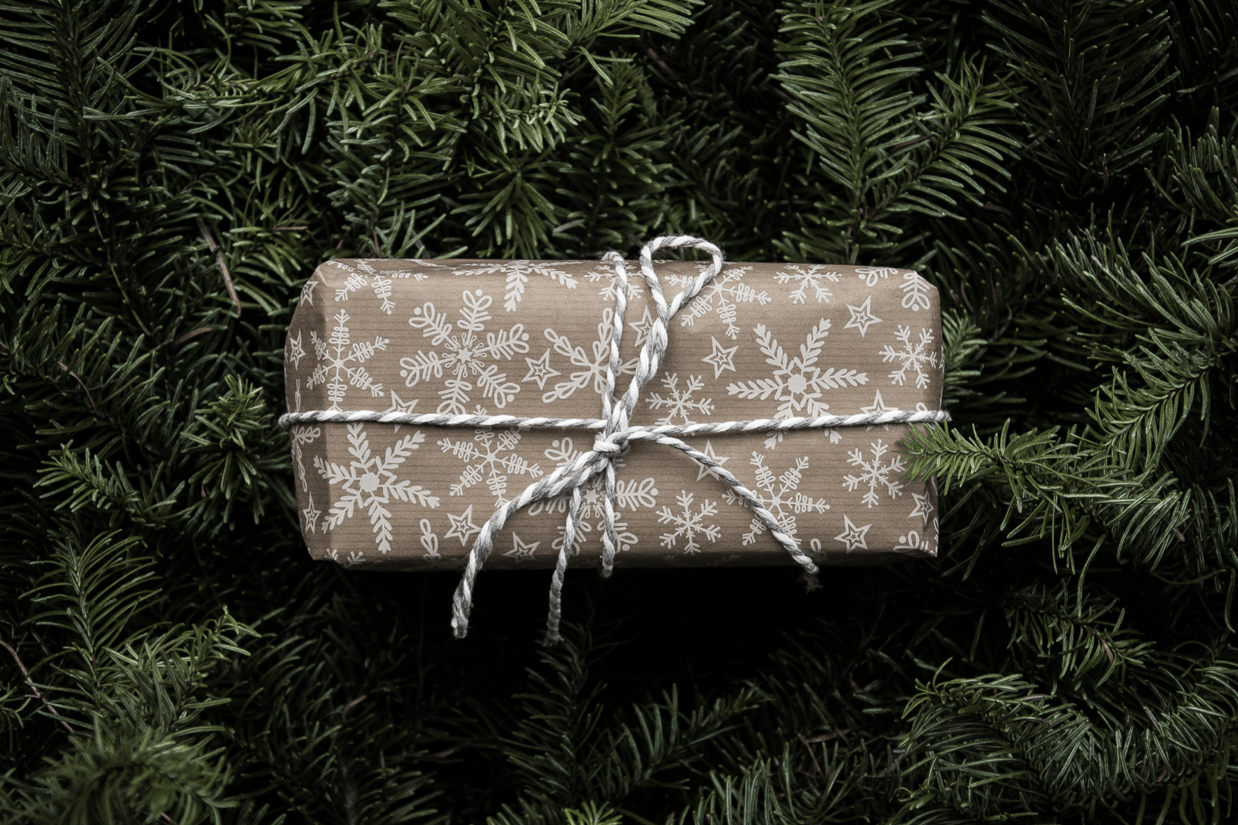 Gift with white snowflakes on the wrapping and a string bow in front of a pine tree
