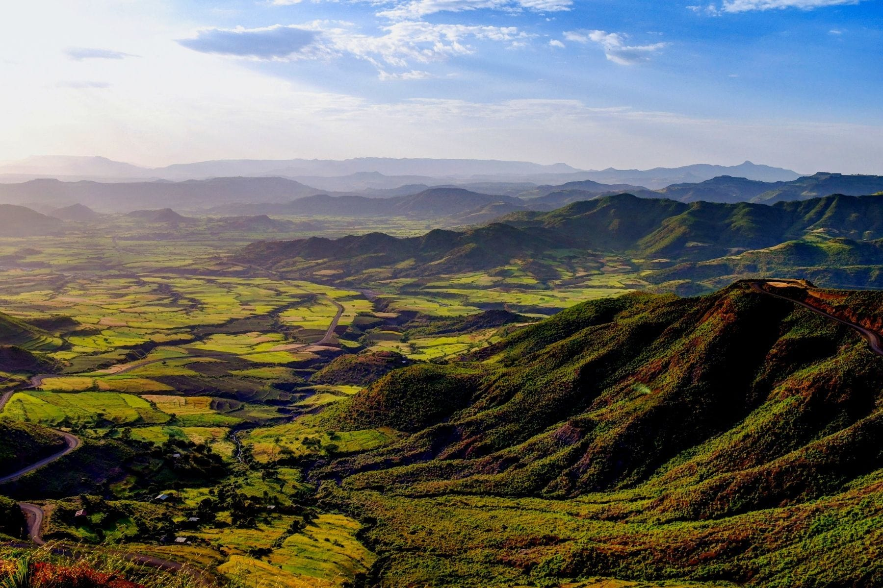 landscape of ethiopian hills and forest