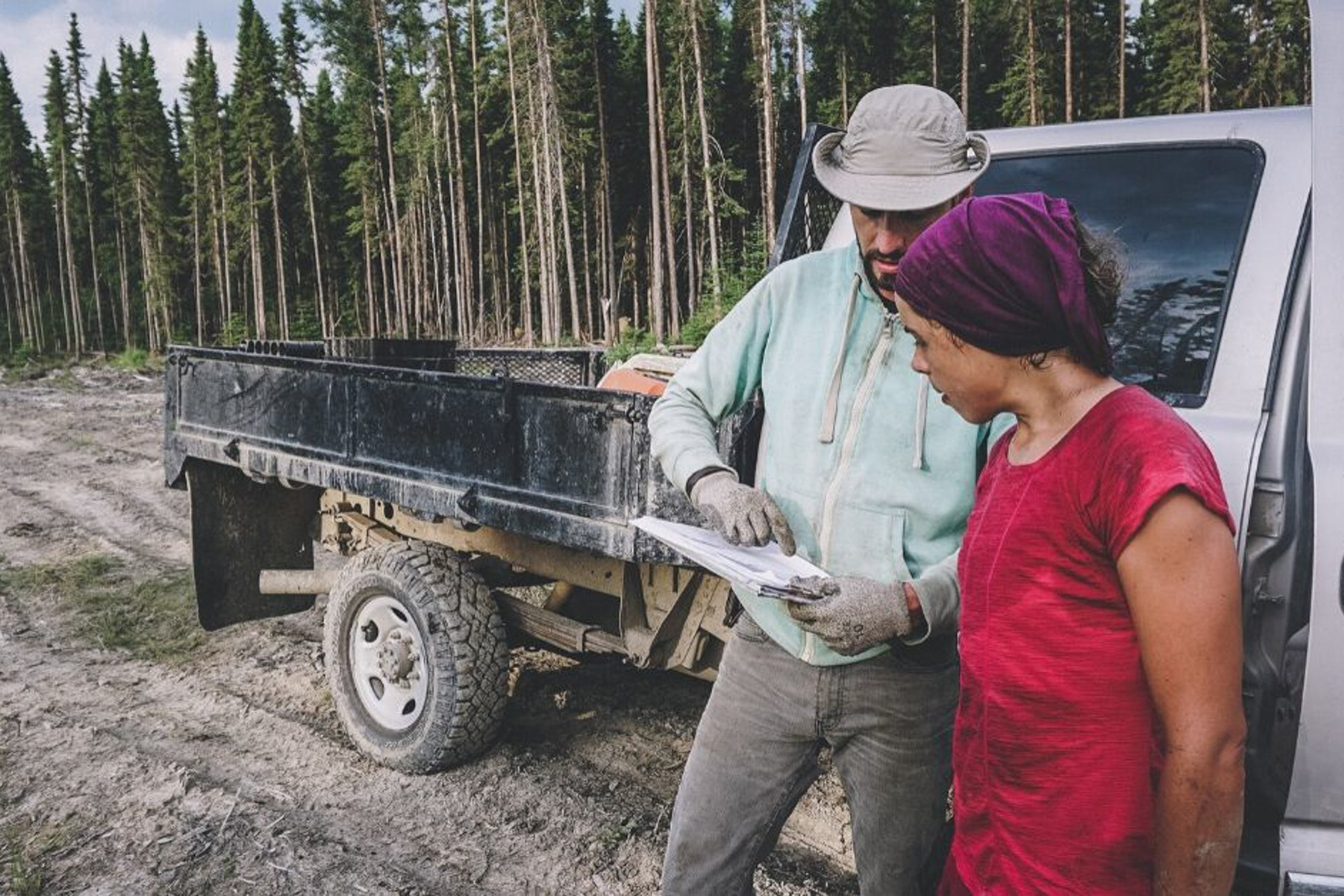 Pprofessional tree planters looking at plans in front of a truck with trees in the background