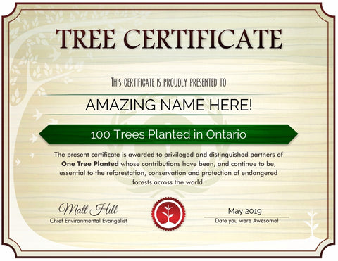 Ontario tree certificate from One Tree Planted