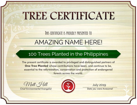 Philippines tree certificate sample