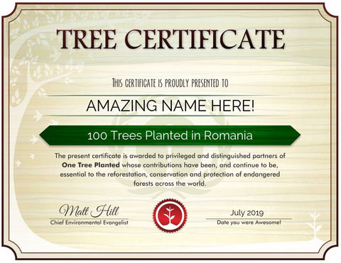 Romania tree certificate sample