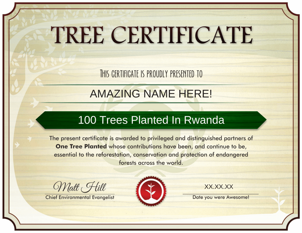 Tree Certificate - Trees Planted in Rwanda