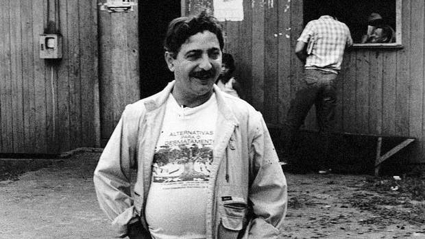 Renowned Brazilian environmentalist Chico Mendes poses outside the headquarters of his rubber-tappers union in 1988. Dec. 21, 2013, marks the 25th anniversary of his killing.