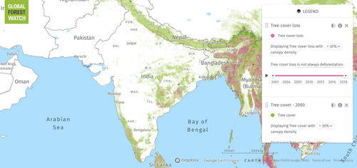 Map of deforestation in India