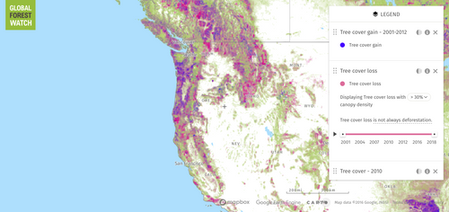 Map of deforestation in the Pacific Northwest