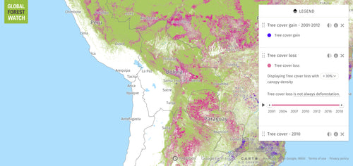 Map of Deforestation in the Andes