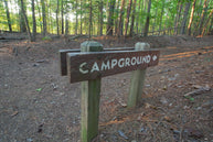 wooden campground sign