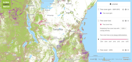 Map of deforestation in Tanzania