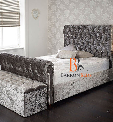 Emma Studded Scroll Sleigh Bed Frame